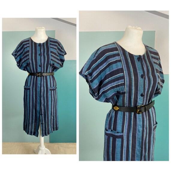 80s Linen Shirt Dress - S/M