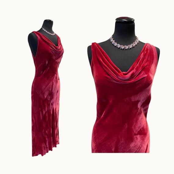 90s Does 20s Silk Velvet Bias Cut Dress - S/M