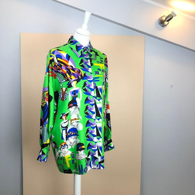 9bf87f5dac79 VERSACE 80s Gianni Versace GV Versatile Printed Silk Shirt
