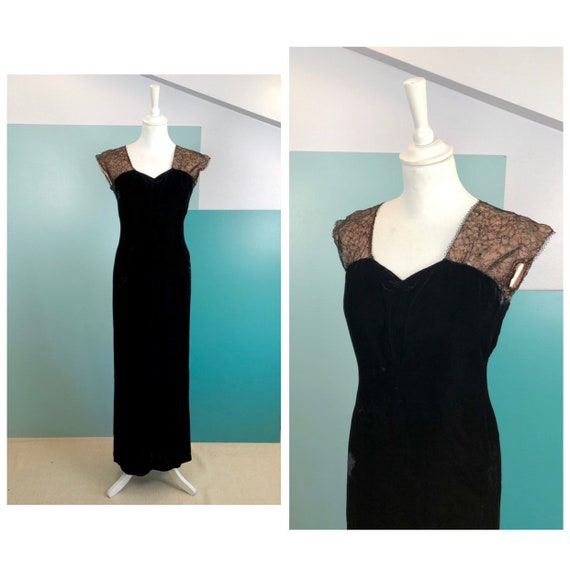 20s/30s Lace and Silk Velvet Long Dress - Size M