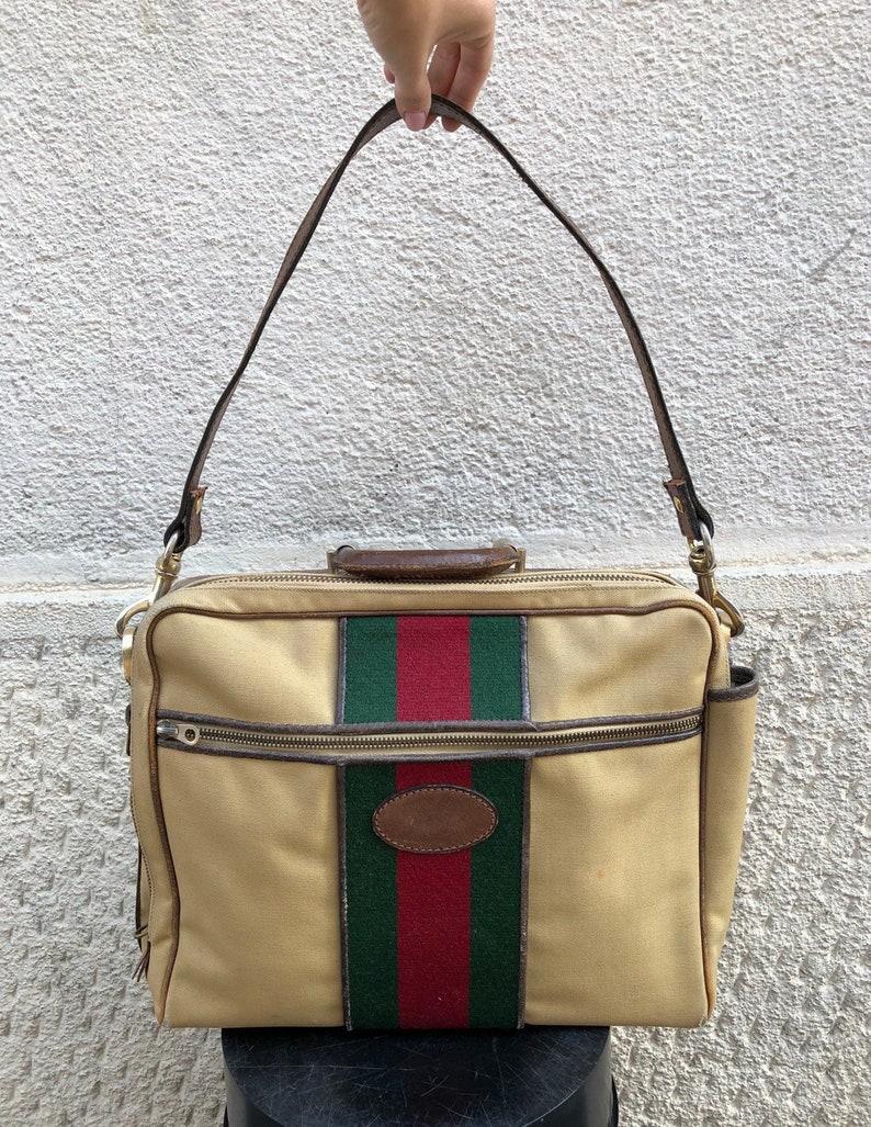 db063d12306796 GUCCI Cartella Gucci Anni 70 in Tela e Cinghiale | Etsy