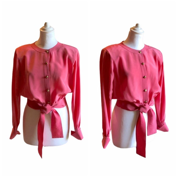 CHANEL - 80s Chanel Silk Cropped Shirt - Size S