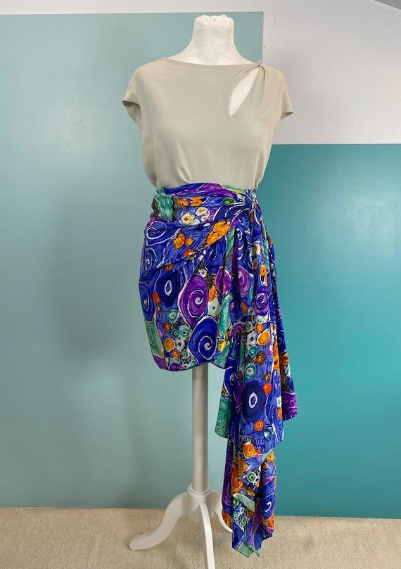 80s Silk Mini Skirt - Size S - image 2
