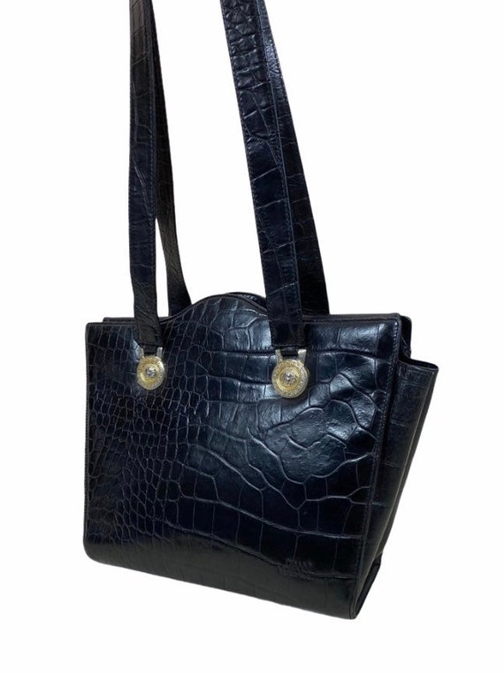 VERSACE - 90s Gianni Versace Black Leather Bag - image 5