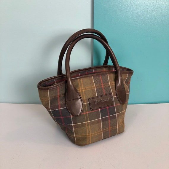 BARBOUR - Vintage Barbour Checkered Canvas and Le… - image 3