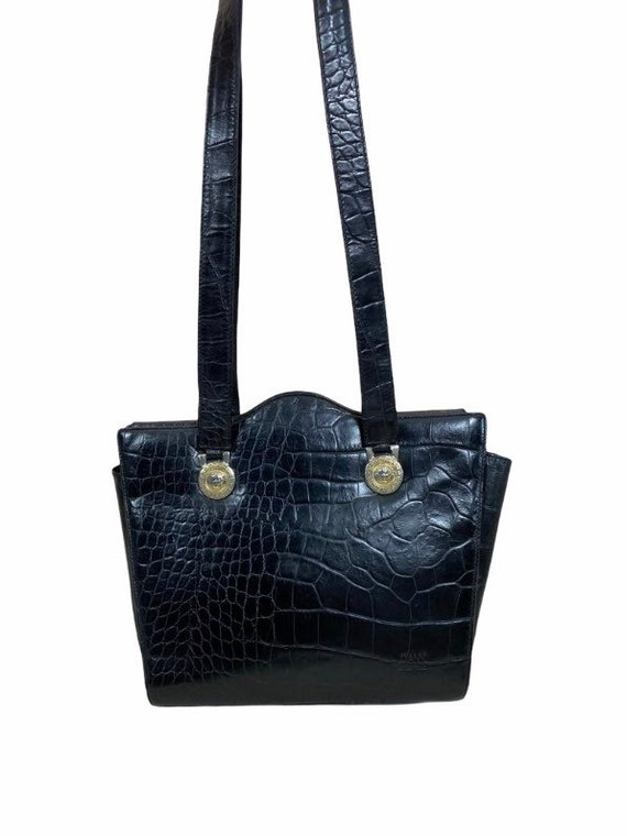 VERSACE - 90s Gianni Versace Black Leather Bag - image 2