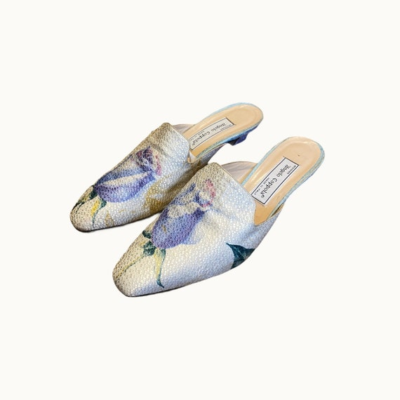 39 EU | 90s Silk and Leather Mules - image 3
