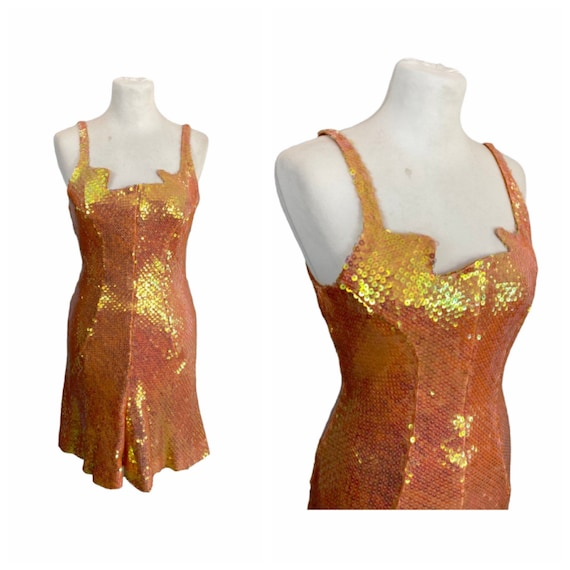 80s Silk and Sequins Dress - Size S