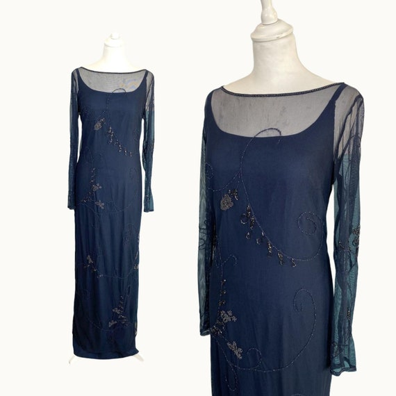 90s Embroidered Tulle Two Pieces Dress - Size M