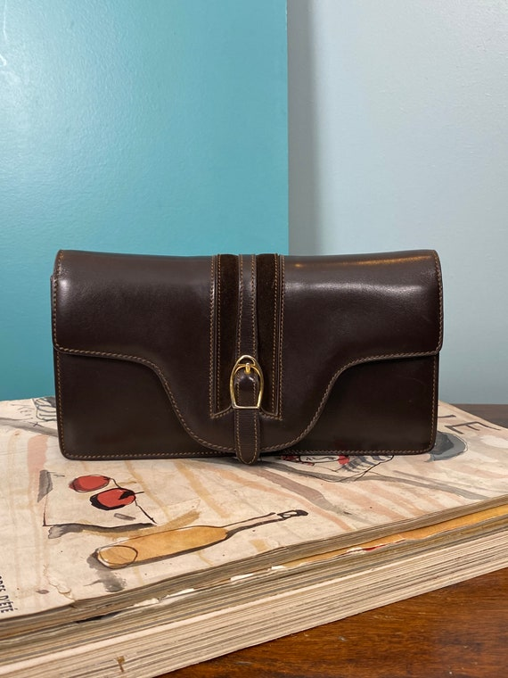 GUCCI - 60/70s Brown Leather Clutch - image 2