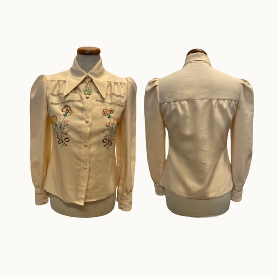 70s Does 40s Embroidered Shirt - Size D