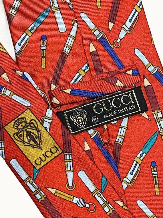 GUCCI - 70s Pencil Print Silk Tie - image 7