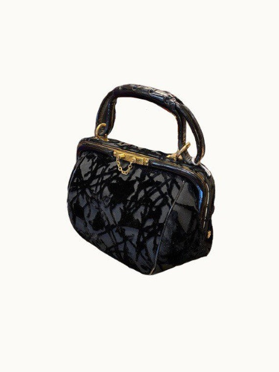 30/40s Velvet and Leather Handbag