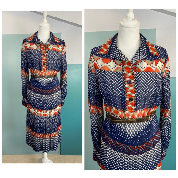 70s Wool Shirt Dress - Size M