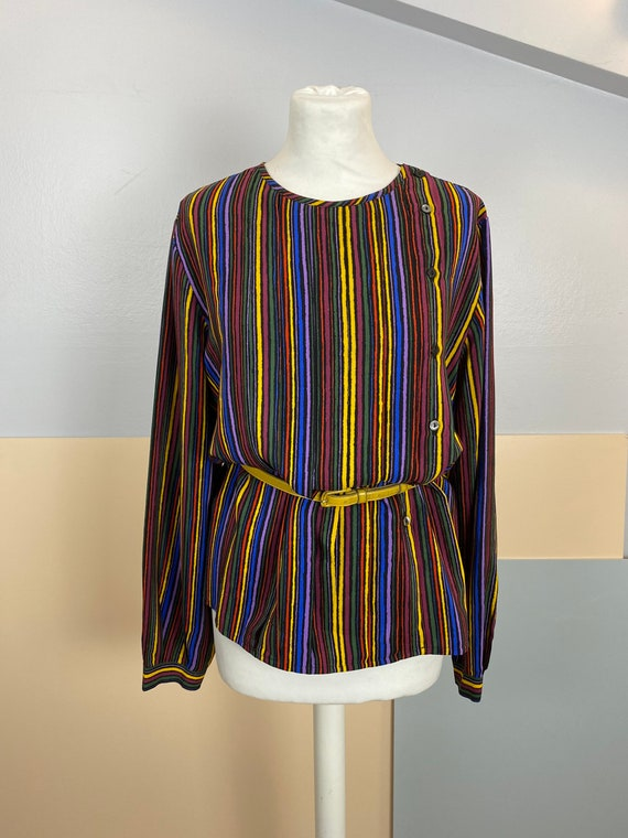 Size M | GUCCI - 70s Striped Silk Blouse - image 2