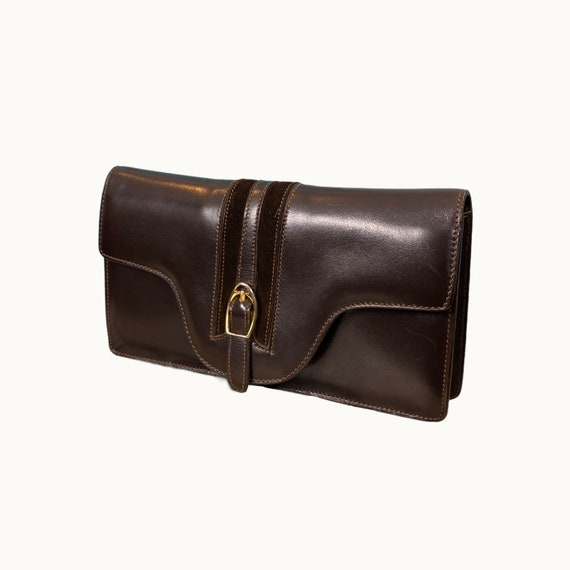 GUCCI - 60/70s Brown Leather Clutch - image 1