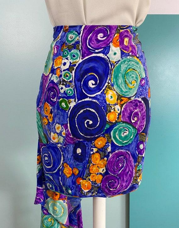 80s Silk Mini Skirt - Size S - image 7
