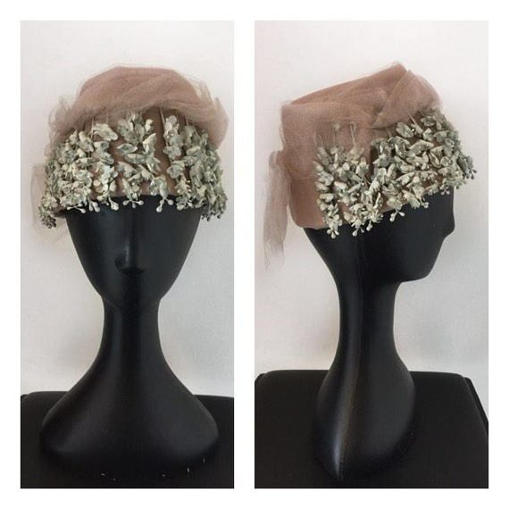 60s Tulle Pillbox Hat - Vintage Hat With Attached
