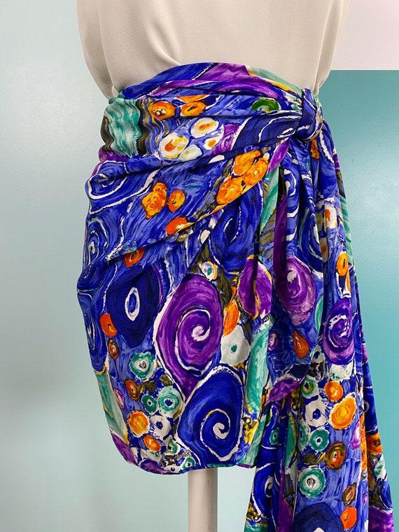 80s Silk Mini Skirt - Size S - image 3