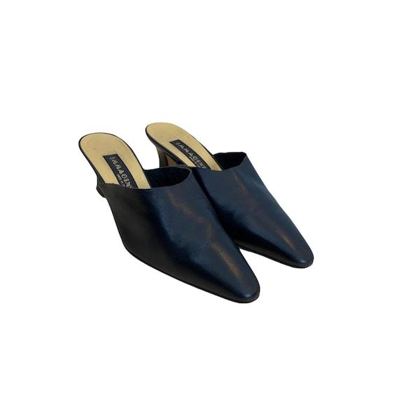37 EU | 90s Blue Soft Leather Heeled Mules - image 4