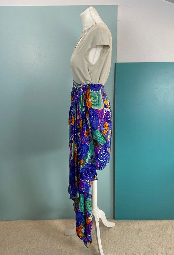 80s Silk Mini Skirt - Size S - image 5