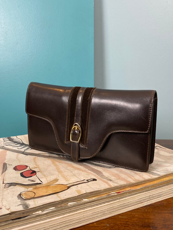 GUCCI - 60/70s Brown Leather Clutch - image 3