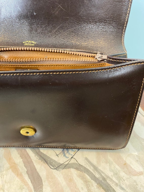 GUCCI - 60/70s Brown Leather Clutch - image 8