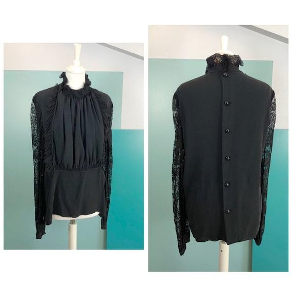 VALENTINO - 80s Valentino Lace and Silk Blouse - S