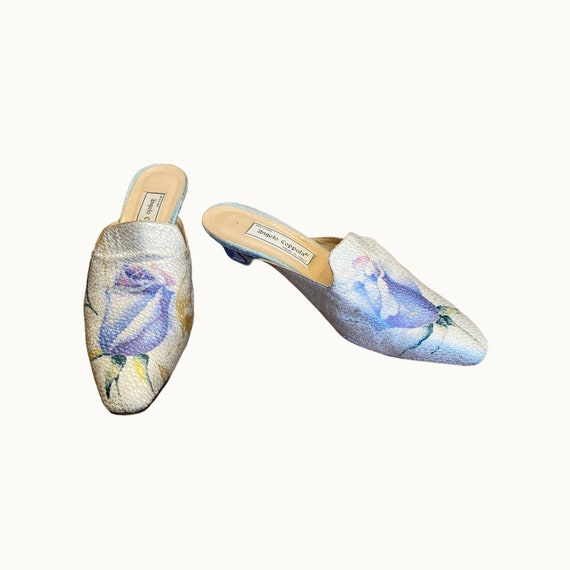 39 EU | 90s Silk and Leather Mules - image 4