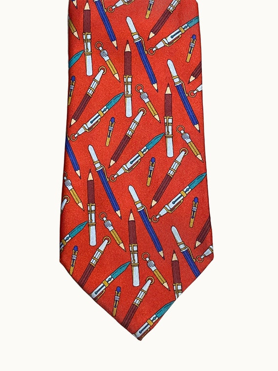 GUCCI - 70s Pencil Print Silk Tie - image 3