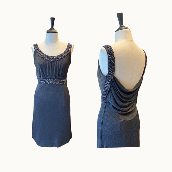60s Jersey and Beads Backless Dress - Size S