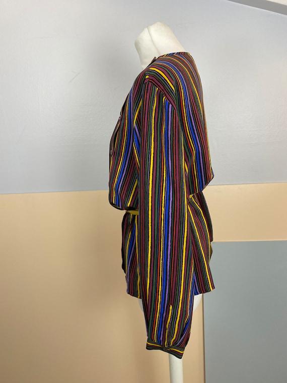 Size M | GUCCI - 70s Striped Silk Blouse - image 5
