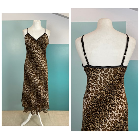 90s Animal Print Silk Spaghetti Dress - M