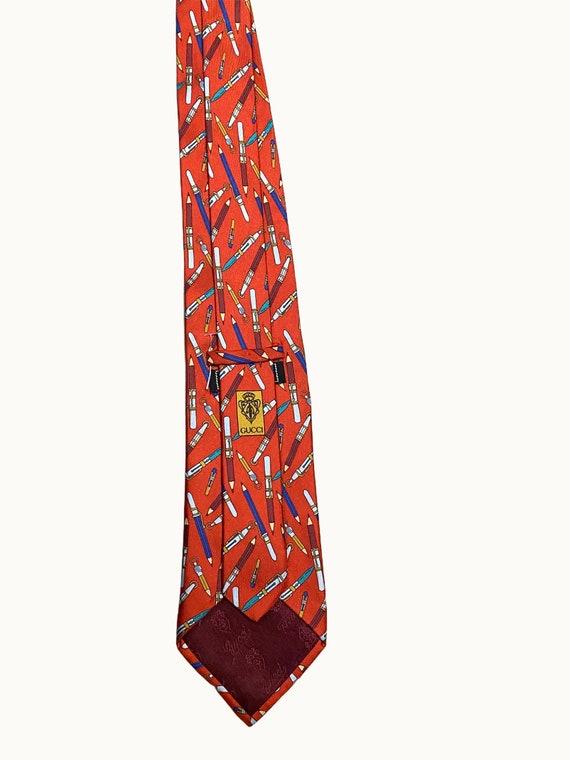 GUCCI - 70s Pencil Print Silk Tie - image 8
