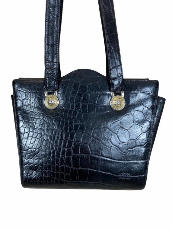 VERSACE - 90s Gianni Versace Black Leather Bag - image 3