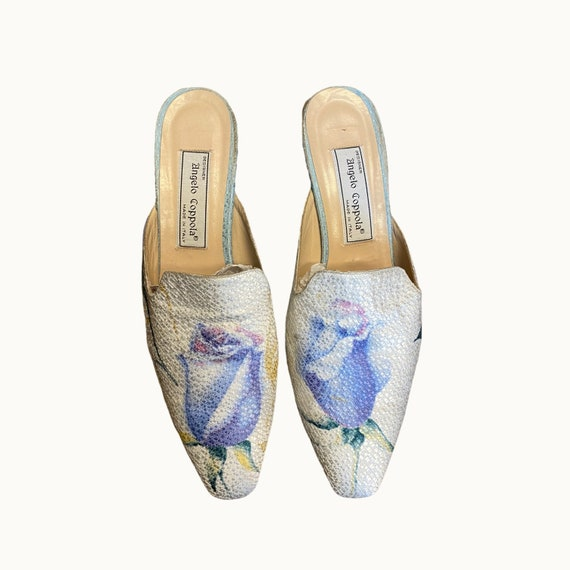 39 EU | 90s Silk and Leather Mules - image 2