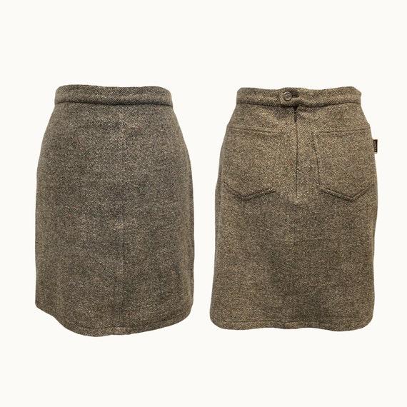 FENDI - 80s Wool Blend A Line Skirt - Size M