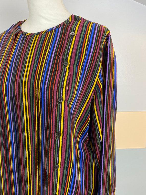 Size M | GUCCI - 70s Striped Silk Blouse - image 8