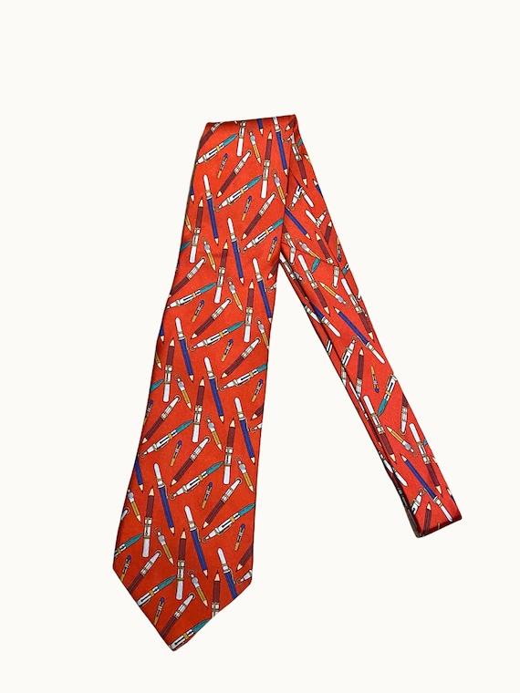 GUCCI - 70s Pencil Print Silk Tie - image 9
