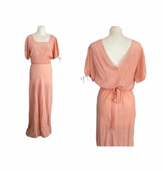 30/40s Silk Long Slip Dress - Size M/L