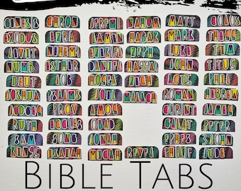 Handcrafted Bible Tabs- Rainbow Chalkboard