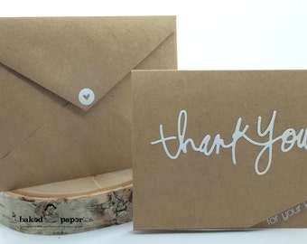 Kraft Thank You Card, Kindness Card, Appreciation Card, Card, Handcrafted Card, Handmade Card, Kraft Card, Script Thank You Card