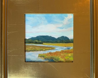 """Bass Harbor Marsh Mountain View, 6x6"""" original oil painting, choice of gold or cottage frame"""