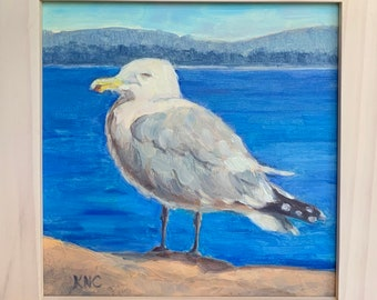 """My Fancy-tailed Friend, Acadia National Park, original oil painting, 6""""x6"""" plus choice of frame"""