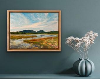 "Grand View of Bass Harbor Marsh, Acadia National Park, original oil painting 12""x16"""