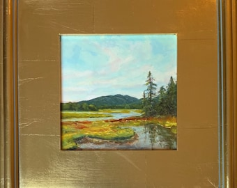 """Bass Harbor Marsh Reflections, 6""""x6"""" original oil painting, choice of gold or cottage frame"""