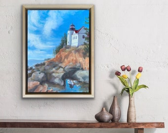 Blue Skies over Bass Harbor Lighthouse, Acadia National Park, original painting