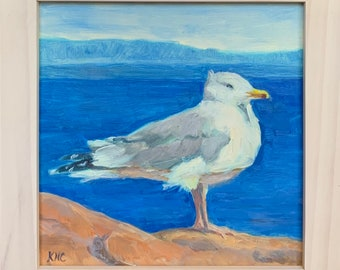 """Posing in the Wind, Seagull in Acadia National Park, 6""""x6"""" original oil painting"""