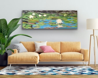 """Lilies of Little Long Pond, large original oil painting, Maine, 20""""x60"""""""