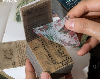 366 Sheets Retro Vellum Memo Paper Pad, Natural Flower Plant Mini Vellum Paper, Art Journaling Planner Scrapbook Decor Junk Journal - e200_c